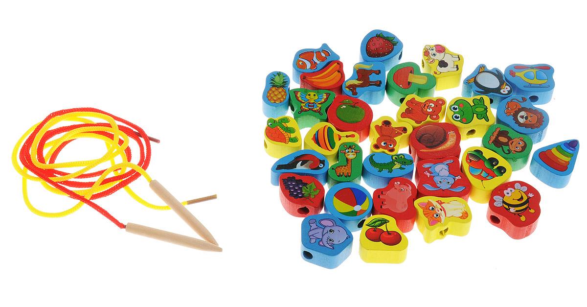 Развивающие деревянные игрушки Шнуровка Ассорти 32 элемента развивающие игрушки росигрушка набор клепа пирамида фигуры 16 деталей