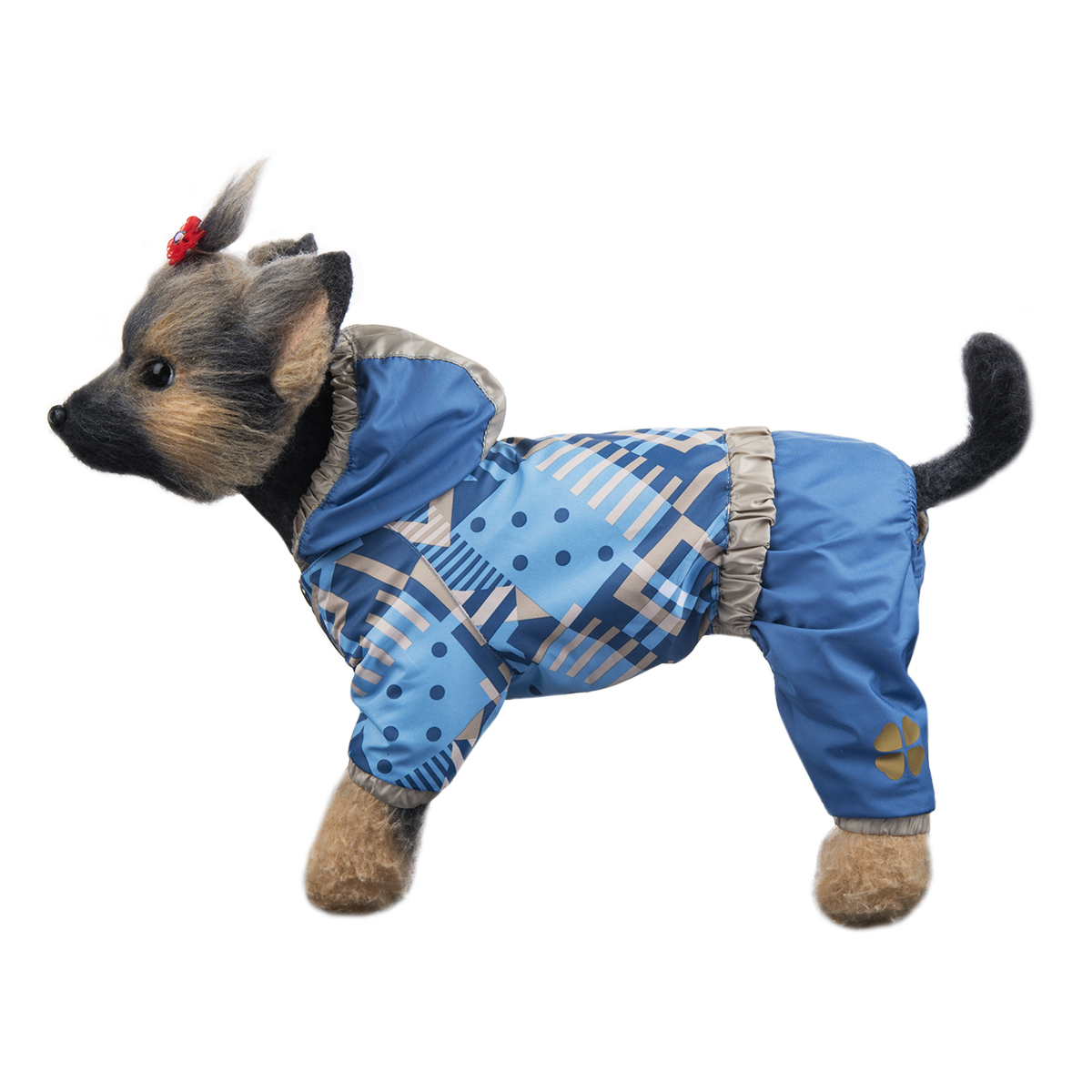 Комбинезон для собак Dogmoda Прогулочный, унисекс, цвет: голубой, серый. Размер 3 (L)