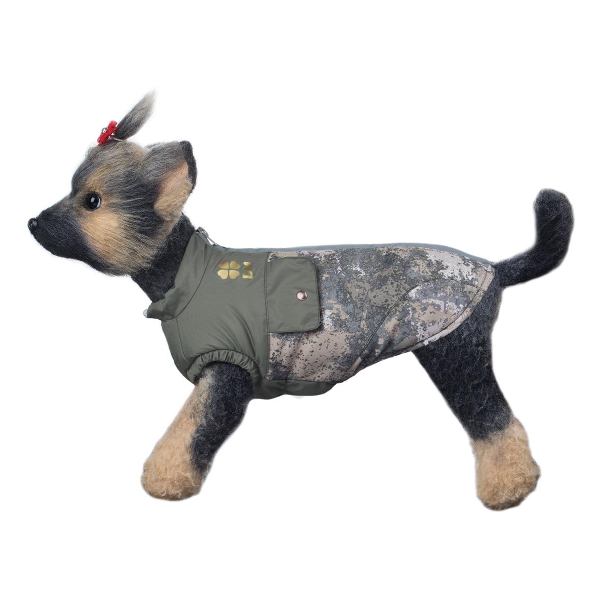 """Куртка для собак Dogmoda """"Классик"""", унисекс, цвет: серый, светло-коричневый, серо-зеленый. Размер 5 (XXL)"""