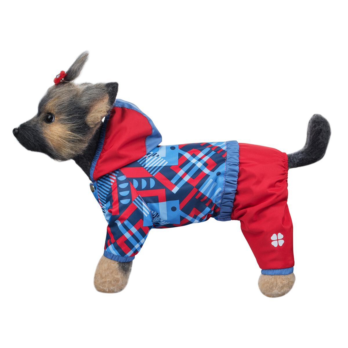 Комбинезон для собак Dogmoda Прогулочный, для девочки, цвет: голубой, красный. Размер 4 (XL) догмода футболка с капюшоном для собак dogmoda 1