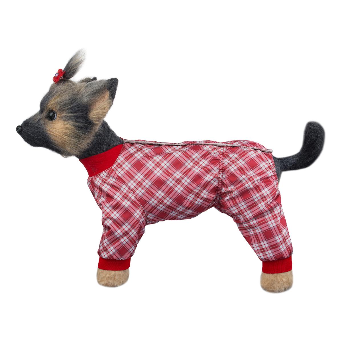 Комбинезон для собак Dogmoda Клетка, для девочки, цвет: красный, белый. Размер 3 (L) комбинезоны для животных dogmoda комбинезон doggs active 70 сука