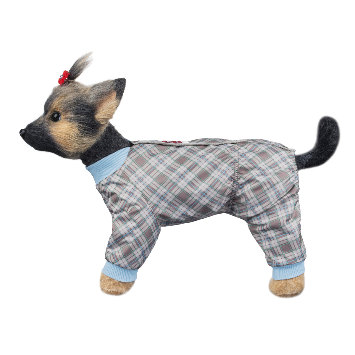 Комбинезон для собак Dogmoda Клетка, унисекс, цвет: голубой, серый, коричневый. Размер 4 (XL)