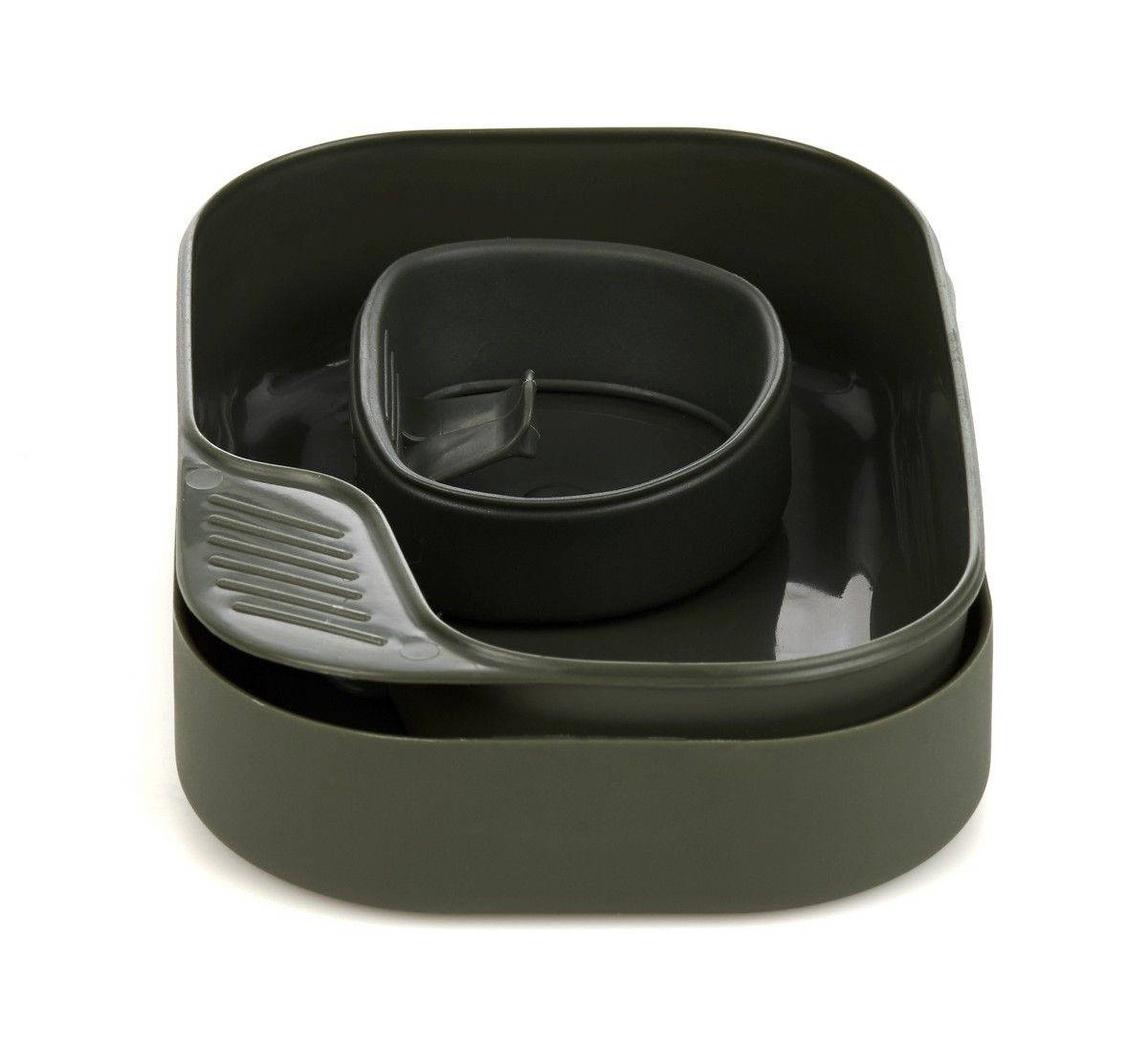 Набор походной посуды Wildo Camp-a-Box Basic, портативный, цвет: оливковый, 3 предмета