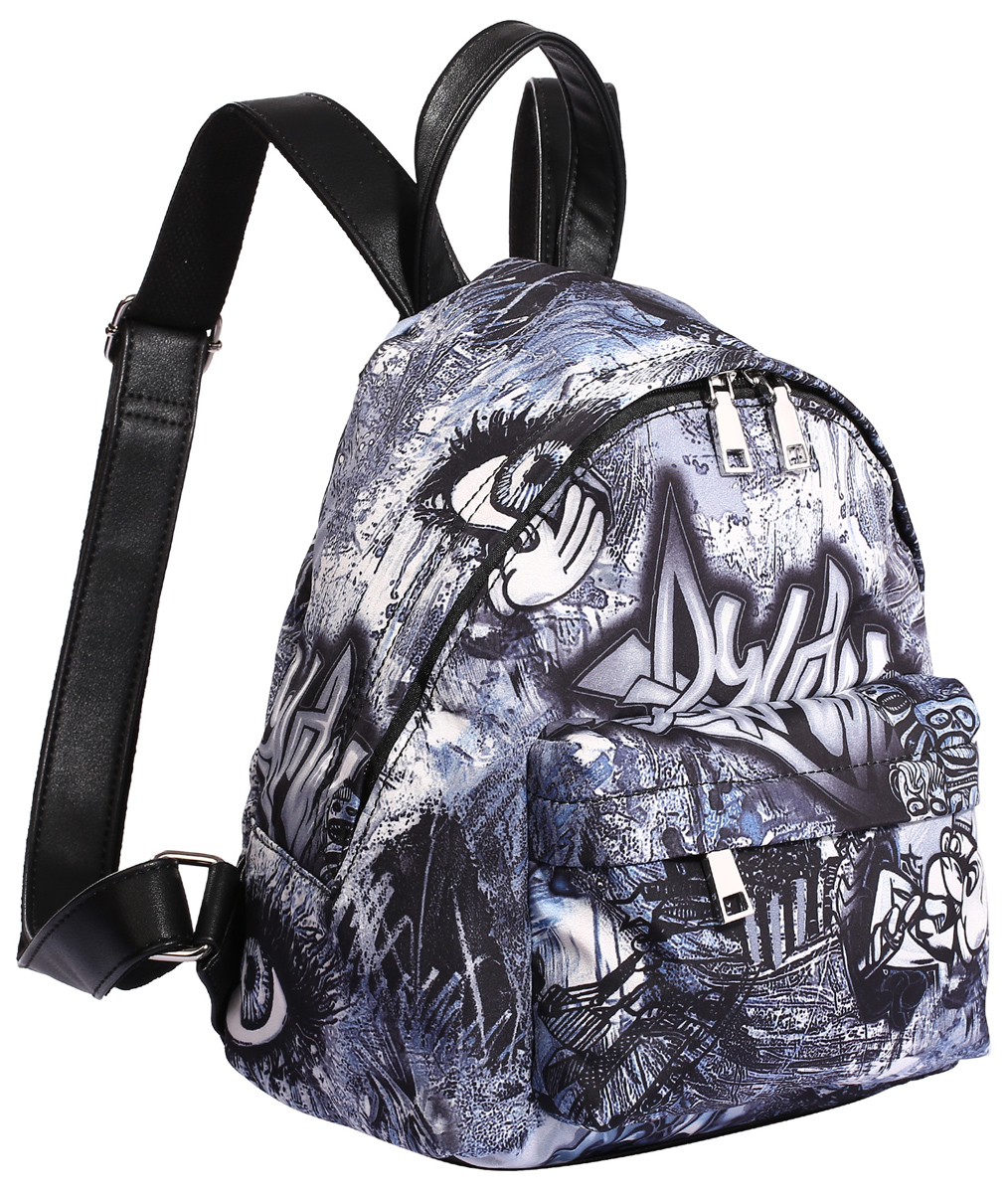 Рюкзак городской женский Pola, цвет: черный, синий, серый, 10 л. 4349