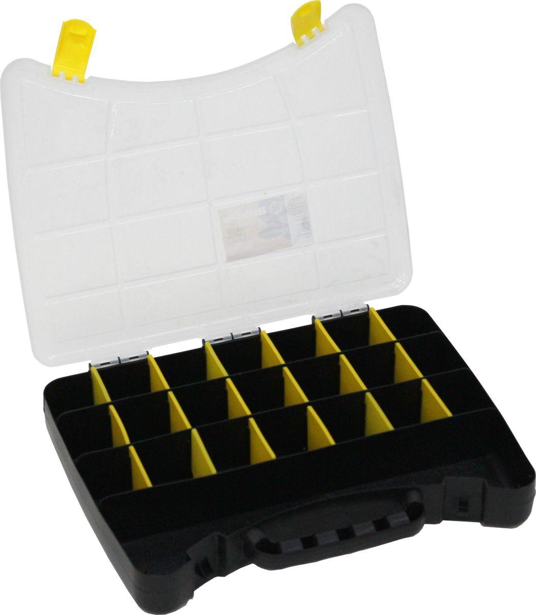 Органайзер Вихрь, 30 х 22,5 х 4,5 см73/5/2/2Органайзер Вихрь имеет: - Удобные накладные замки; - Переставные перегородки, которые позволяют изменять пространство; - До 22 отделений для крепежа и мелких предметов;Изготовлен из пластика.Размер: 30 х22,5 х 4,5 см.
