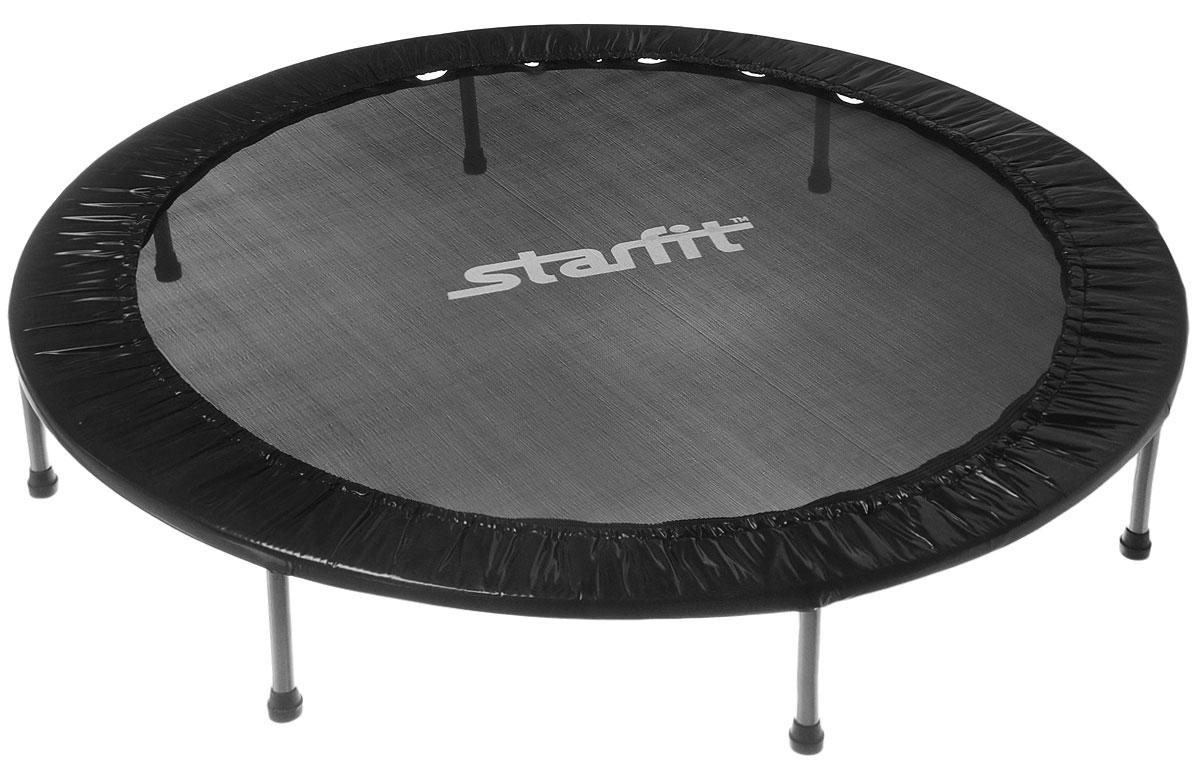 Батут Star Fit, цвет: черный, серый, диаметр 152 смУТ-00008877Батут Star Fit предназначен для тренировок детей и взрослых. Его можно использовать как на улице, так и в помещении. На батуте можно прыгать, кувыркаться, играть, проводить спортивные состязания, экстремальные шоу и многое другое. Основная задача батута - физическое развитие, нагрузки, укрепление различных групп мышц, гармоничное развитие всего организма.Для занятий на батуте можно использовать дополнительный инвентарь: гантели, скакалку. Все это поможет разнообразить комплекс упражнений и достичь оптимального результата. А поскольку придется прилагать значительные усилия, чтобы скоординировать движения и сохранить равновесие, будьте уверены, что ни одна мышца тела не останется неохваченной.Защитные колпачки на ножках батута съемные. Занятия на батуте способствуют укреплению не только всех без исключения групп мышц, но и помогают развивать гибкость, а также сжигают немало лишних калорий! Диаметр батута: 152 см. Количество ножек: 8. Высота батута: 25 см. Форма ножек: прямые.