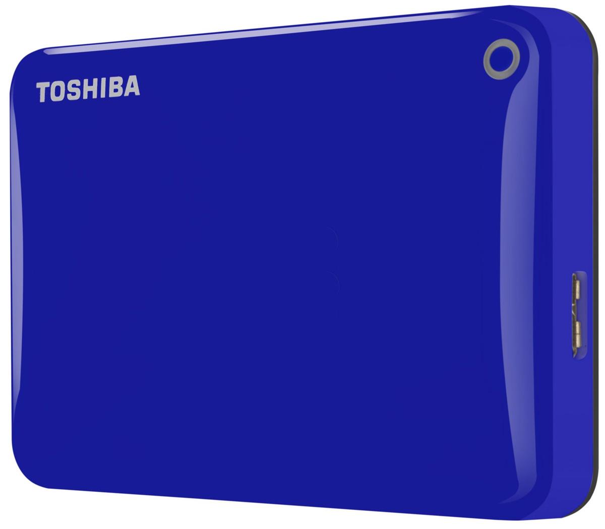 Toshiba Canvio Connect II 500GB, Blue внешний жесткий диск (HDTC805EL3AA)HDTC805EL3AAToshiba Canvio Connect II дает вам возможность быстро передавать файлы с интерфейсом USB 3.0 и хранитьбольшое количество данных на внешнем жестком диске. Устройство полностью готово для работы с MicrosoftWindows и не требует установки программного обеспечения, так что ничего не может быть удобнее для хранениявсех ваших любимых файлов. В офисе или в дороге его классический дизайн будет всегда уместен. Более того,Toshiba Canvio Connect II позволяет подключаться также и к оборудованию с совместимостью USB 2.0.Этот внешний накопитель обеспечивает доступ к вашим файлам практически из любого места и с любогоустройства. Toshiba Canvio Connect II может легко превратить ваш компьютер в облачный сервер благодаряпредустановленному ПО для удаленного доступа (накопитель должен быть подключен к компьютеру и Wi-Fi).Помимо удаленного доступа это устройство предоставляет своему владельцу 10 ГБ дополнительного места воблачном сервисе. Программное обеспечение NTI Backup Now EZ обеспечивает удобное и надежное созданиерезервных копий и восстановление всех ваших папок, файлов и операционной системы.Canvio Connect II оборудован датчиком ударов, сигнал которого переводит головку жесткого диска в безопасноеположение, за счет чего снижается риск повреждения носителя и потери данных при падении накопителя.Накопитель имеет уже установленный драйвер NTFS для Mac, поэтому вам не придется волноваться из-за типавашего компьютера - просто подключите Canvio Connect II и получите доступ к вашим файлам.