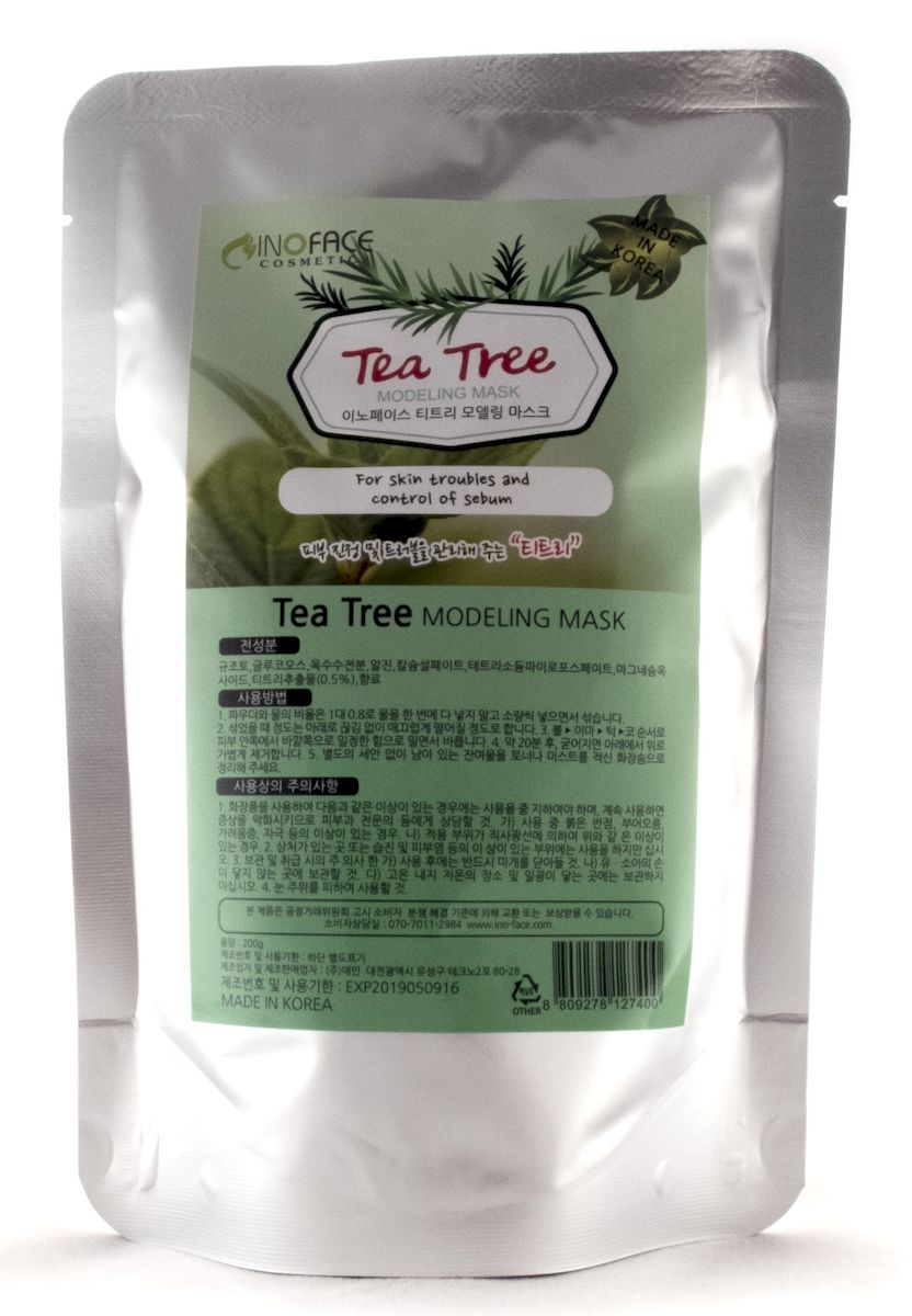 Inoface Альгинатная маска с чайным деревом для проблемной кожи с акне и черными точками, 200 г127400Альгинатная маска с экстрактом чайного дерева эффективна при лечении угревой сыпи, гнойничков и прочих воспалительных процессов кожи. Экстракт чайного дерева - это идеальное антисептическое, противовоспалительное средство, которое дезинфицирует кожу и помогает ликвидировать акне. Маска лечит угревую сыпь, воспаления, другие повреждения кожного покрова лица, она сокращает поры кожи, уменьшая их рельеф. Маска снизит активность сальных желез, уберет жирный блеск и сделает кожу матовой.