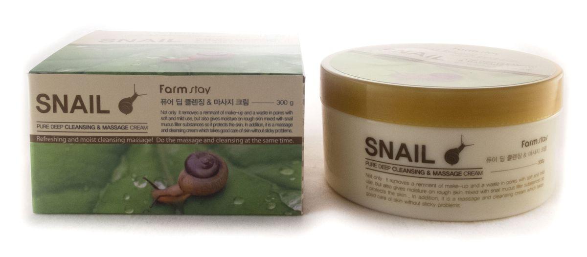 FarmStay Очищающий массажный крем для лица с улиткой, 300 г7287379Глубоко очищающий крем обладает легкой, не липкой консистенцией, помогает тщательно удалить косметику, очистить поры.