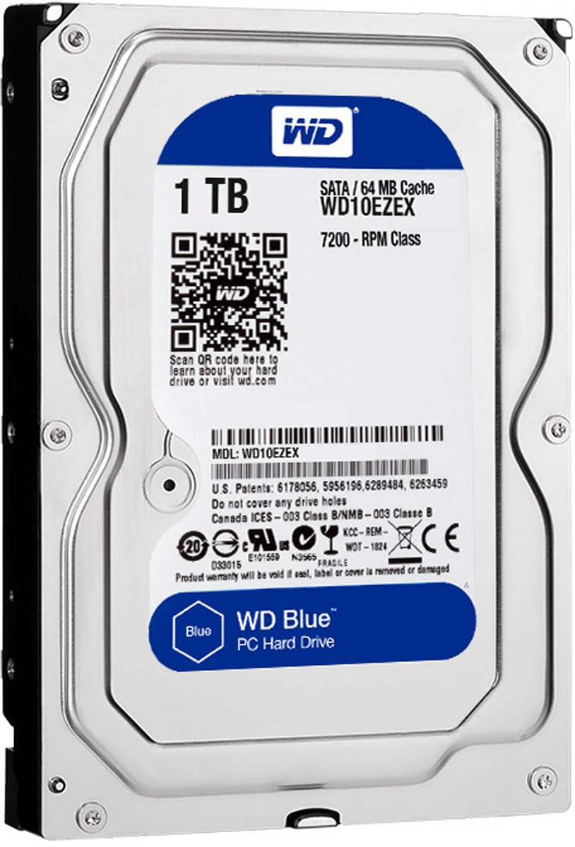 WD Blue 1TB внутренний жесткий диск (WD10EZEX)WD10EZEXУвеличьте емкость ПК с помощью накопителей WD Blue, разработанных специально для настольных и моноблочных ПК. Линейка накопителей WD Blue позволяет увеличить объем хранения данных до 6 ТБ. Накопители WD поставляются с бесплатным доступом к программе WD Acronis True Image. Функции резервного копирования и восстановления позволяют легко сохранять и извлекать личные данные без переустановки системы.Каждый накопитель WD Blue проектируется, тестируется и производится на совесть. Кроме того, на все накопители этой линейки предоставляется двухгодичная гарантия.Технология бесконтактного считывания NoTouch обеспечивает безопасное расположение записывающей головки относительно поверхности накопителя для защиты данных. Данная модель также оснащена функцией IntelliSeek. Она вычисляет оптимальное время поиска, что помогает уменьшить уровень энергопотребления, шума и вибрации.
