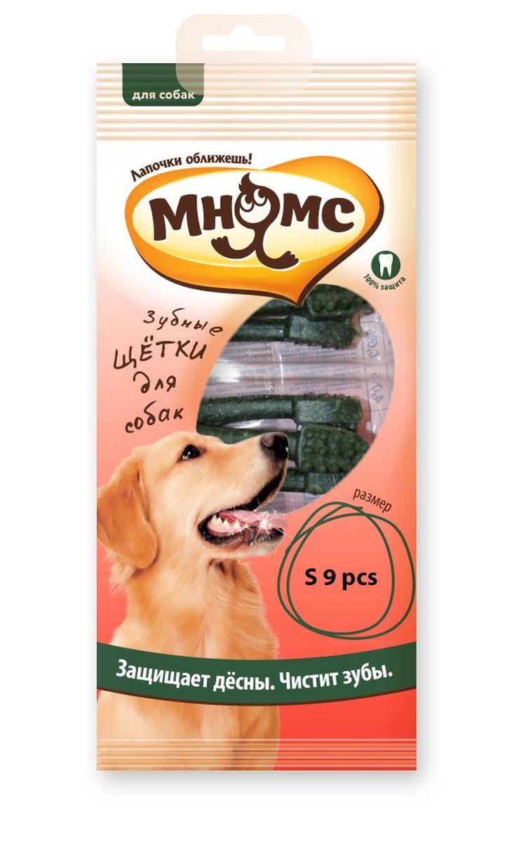 Лакомство для собак Мнямс Зубная щетка, длина 7 см, 9 шт206039Низкокалорийное лакомство для собак средних и мелких пород - вкусное и здоровое угощение. Содержит мало жиров и богато клетчаткой. Лакомство препятствует образованию зубного камня и освежает дыхание.Оригинальная форма и твердая текстура помогают эффективно очистить зубы и межзубное пространство от налета и зубного камня, поддерживает здоровье зубов, ротовой полости, помогает сформировать красивый экстерьер головы, благодаря укреплению жевательных мышц собаки. Лакомство МНЯМС не содержит искусственных добавок и красителей. Белок – 4г/100г, клетчатка – 0,4%, зола 2,4%, жир 2,4г/100г, влага 15,3%. Кукурузный крахмал 57,89%, прежелатинизированный крахмал 15%, глицерол 10%, ароматизатор 1%, сорбат калия 0,5%, дегидроацитат натрия, диоксид титана 0,3%, вода 15,3%.Рекомендации по кормлению: щенкам после шести месяцев 1-4 штуки в день, взрослым собакам 3-6 штук в день