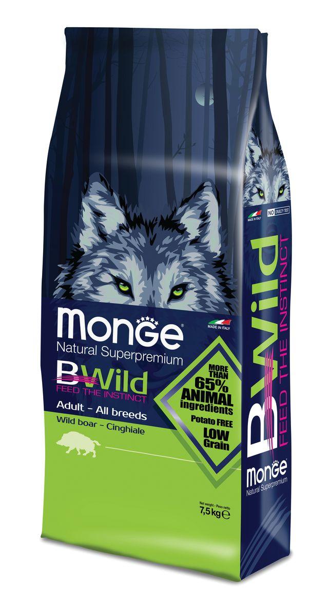 Корм сухой Monge Bwild Dog Boar, для взрослых собак, с мясом дикого кабана, 7,5 кг70011815Сухой корм Monge - это полноценный корм с превосходным вкусом для собак, которые нуждаются вконтролируемом питании. Потребление растительных волокон позволяет исключить накопления комочков шерсти в желудке. Оптимальное соотношение жировых кислот Омега-3 и Омега-6 способствует нормальному функционированию сердца, и обеспечивает идеальный баланс кишечной флоры. Указания по применению: можно использовать в сухом или размоченном в теплой воде виде. Суточная норма может меняться в зависимости от физиологических потребностей животного. Важно, чтобы у собаки всегда была свежая, чистая вода. Хранить в сухом прохладном месте. Промышленная серия и дата истечения срока годности: см. штамп на упаковке. Корм для собак не предназначен для употребления в пищу человеком. Товар сертифицирован.