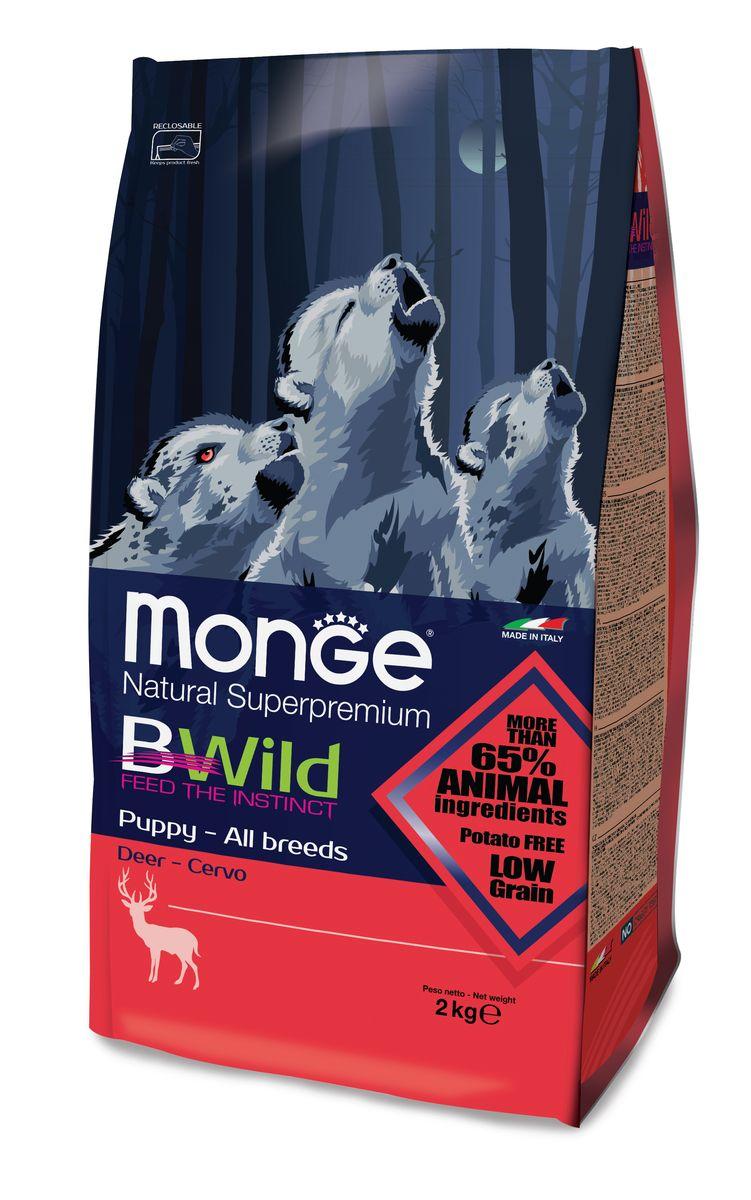 """Корм сухой Monge """"Bwild Dog Deer"""", для щенков, с олениной, 2 кг"""