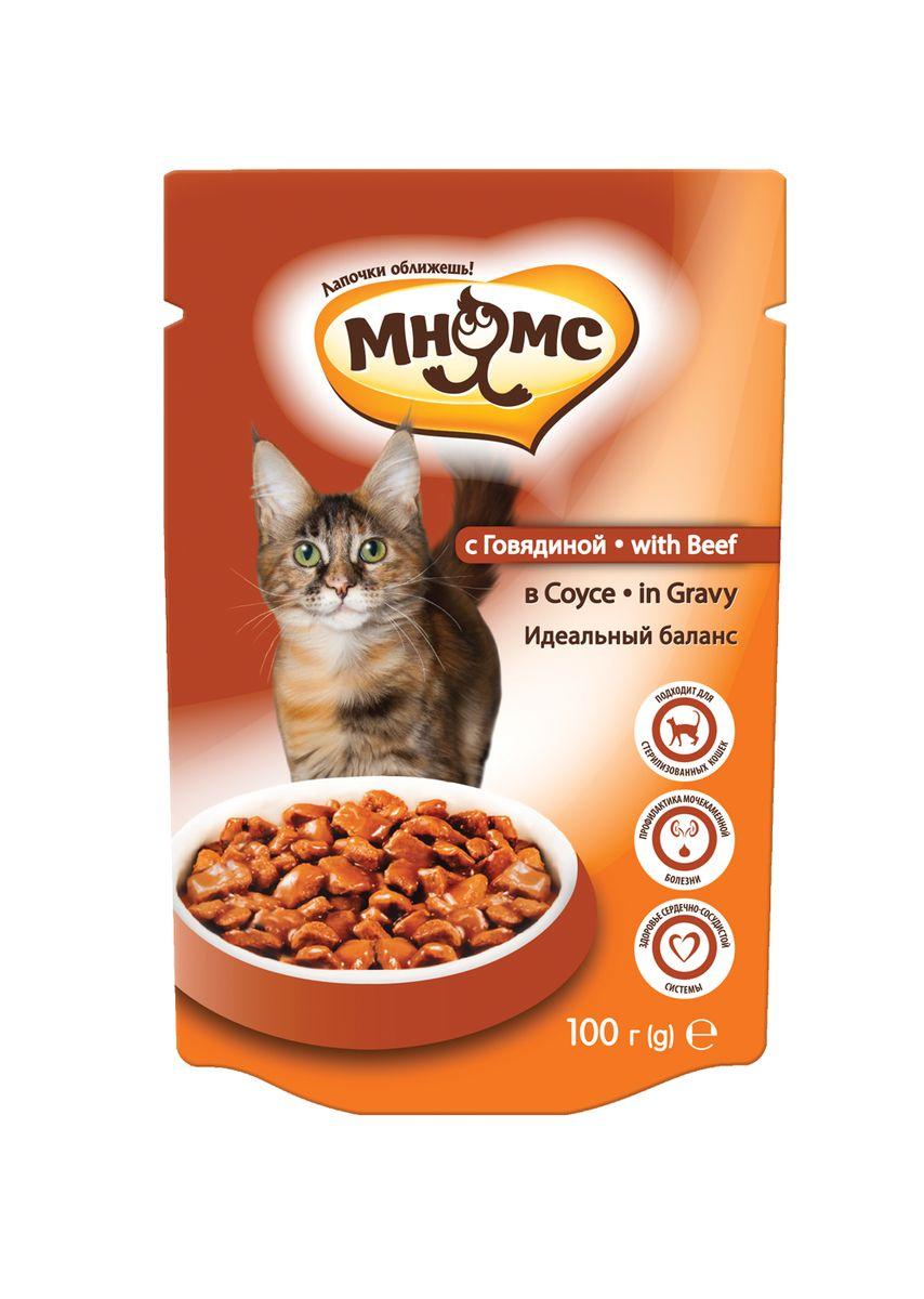 """Консервы для взрослых кошек Мнямс """"Идеальный баланс"""", в соусе, с говядиной, 100 г"""