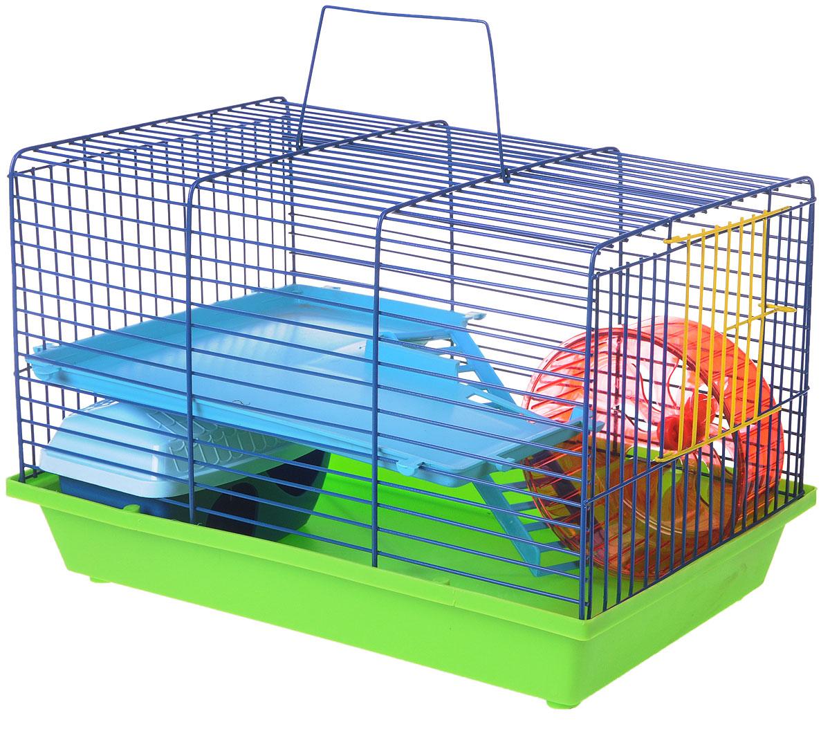 Клетка для грызунов ЗооМарк, 2-этажная, цвет: салатовый поддон, синяя решетка, голубой этаж, 36 х 23 х 24 см125_салатовый, синий, голубойКлетка ЗооМарк, выполненная из полипропилена и металла, подходит для мелких грызунов. Изделие двухэтажное, оборудовано колесом для подвижных игр и пластиковым домиком. Клетка имеет яркий поддон, удобна в использовании и легко чистится. Сверху имеется ручка для переноски, а сбоку удобная дверца. Такая клетка станет уединенным личным пространством и уютным домиком для маленького грызуна.