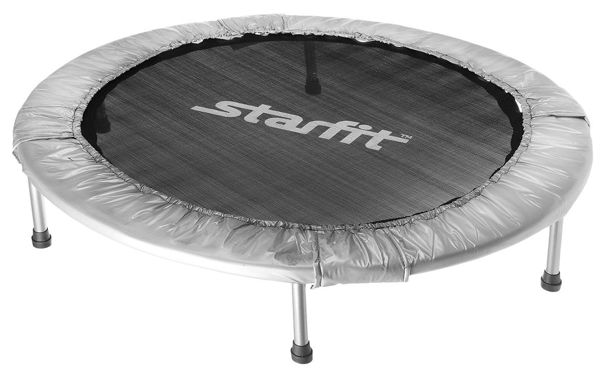 Батут складной Starfit, цвет: серый, черный, диаметр 114 смУТ-00008880Батут Star Fit предназначен для тренировок детей и взрослых. Его можно использовать как на улице, так и в помещении. На батуте можно прыгать, кувыркаться, играть, проводить спортивные состязания, экстремальные шоу и многое другое. Складная конструкция обеспечивает изделию удобную переноску и хранение.Основная задача батута - физическое развитие, нагрузки, укрепление различных групп мышц, гармоничное развитие всего организма. Для занятий на батуте можно использовать дополнительный инвентарь: гантели, скакалку. Все это поможет разнообразить комплекс упражнений и достичь оптимального результата. А поскольку придется прилагать значительные усилия, чтобы скоординировать движения и сохранить равновесие, будьте уверены, что ни одна мышца тела не останется неохваченной.Защитные колпачки на ножках батута съемные.Занятия на батуте способствуют укреплению не только всех без исключения групп мышц, но и помогают развивать гибкость, а также сжигают немало лишних калорий!Диаметр батута: 114 см.Количество ножек: 6.Высота батута: 22 см.Форма ножек: прямые.