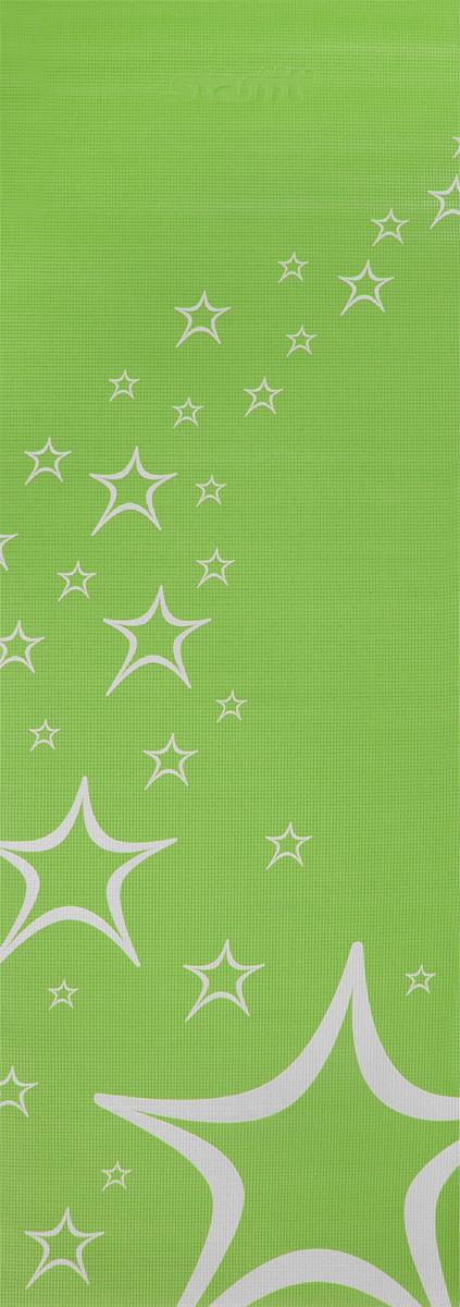 Коврик для йоги Starfit FM-102, цвет: зеленый, 173 х 61 х 0,3 смУТ-00008841Коврик для йоги Star Fit FM-102 - это незаменимый аксессуар для любого спортсмена как во время тренировки, так и во время пре-стретчинга (растяжки до тренировки) и стретчинга (растяжки после тренировки). Выполнен из высококачественного ПВХ и оформлен оригинальным рисунком в виде звезд. Коврик используется в фитнесе, йоге, функциональном тренинге. Его используют спортсмены различных видов спорта в своем тренировочном процессе.Предпочтительно использовать без обуви. Если в обуви, то с мягкой подошвой, чтобы избежать разрыва поверхности коврика.