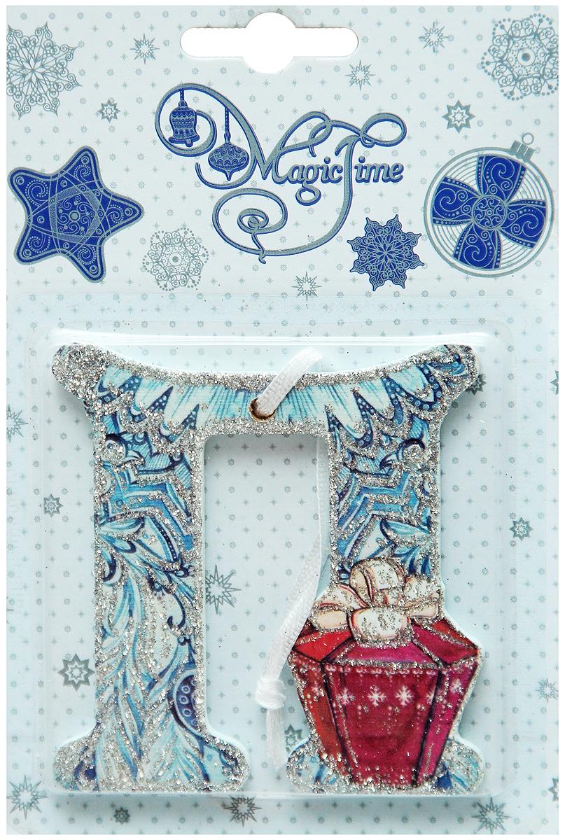 Украшение новогоднее подвесное Magic Time П, 8 х 7,5 см38450Новогоднее подвесное украшение Magic Time П выполнено из МДФ (древесина павловнии) в виде буквы и украшено блестками. С помощью специальной петельки украшение можно повесить в любом понравившемся вам месте. Но, конечно, удачнее всего оно будет смотреться на праздничной елке.Елочная игрушка - символ Нового года. Она несет в себе волшебство и красоту праздника. Создайте в своем доме атмосферу веселья и радости, украшая новогоднюю елку нарядными игрушками, которые будут из года в год накапливать теплоту воспоминаний.