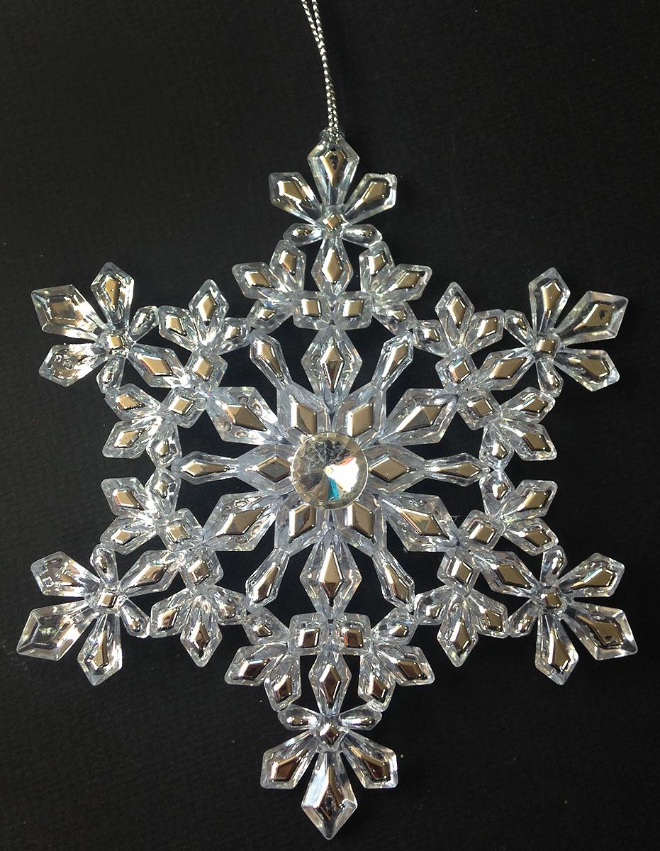 Украшение новогоднее елочное Magic Time Снежинка с кристалликами, 13 см. 3857638576Новогоднее подвесное украшение Magic Time Снежинка с кристалликами изготовлено из качественного пластика и глиттера. Изделие выполнено в виде снежинки с объемным украшением. Подвешивается с помощью небольшой веревочки Елочная игрушка - символ Нового года. Она несет в себе волшебство и красоту праздника. Создайте в своем доме атмосферу веселья и радости, украшая всей семьей новогоднюю елку нарядными игрушками, которые будут из года в год накапливать теплоту воспоминаний.Размер украшения: 13 см.