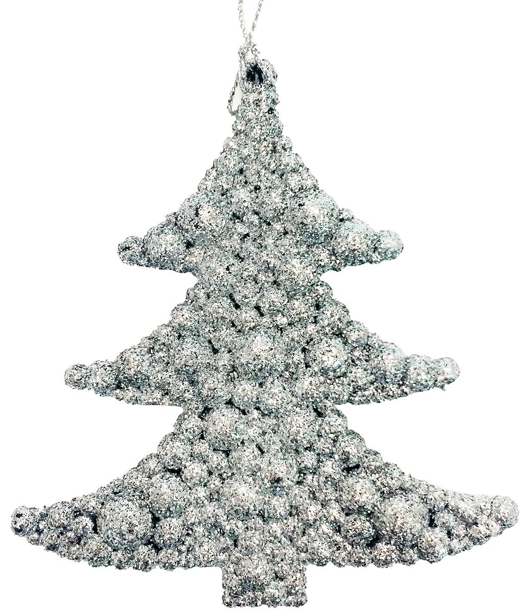 Новогоднее подвесное елочное украшение Magic Time Елочка в серебре, 9х9,5см. 3869638696/75063Материал: пластик, глиттер.