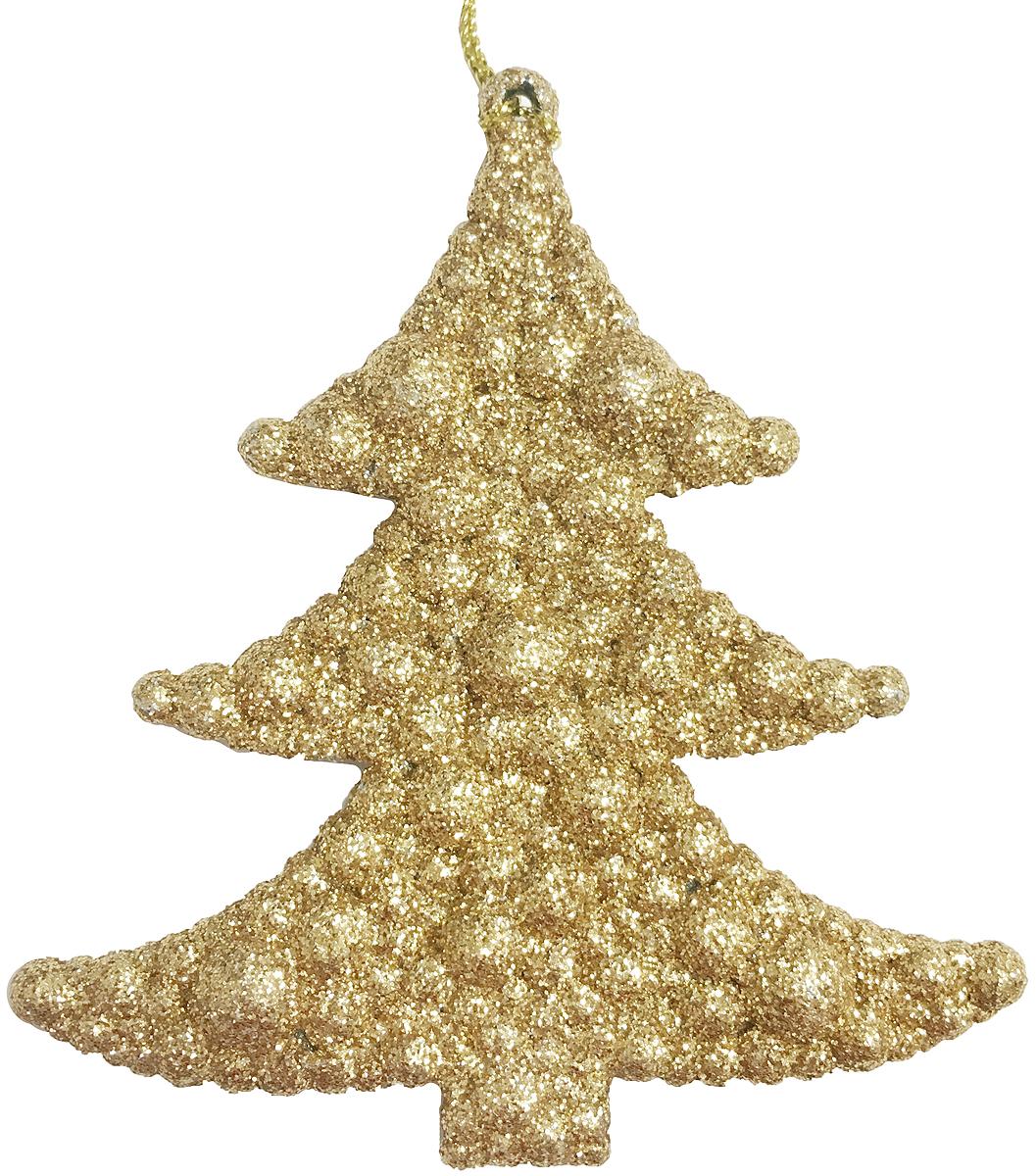 Украшение новогоднее подвесное Magic Time Елочка в золоте, 9 х 9,5 см. 3869738697/75064Новогоднее подвесное украшение Magic Time Елочка в золоте выполнено из полипропилена и украшено блестками. С помощью специальной петельки украшение можно повесить в любом понравившемся вам месте. Но, конечно, удачнее всего оно будет смотреться на праздничной елке.Елочная игрушка - символ Нового года. Она несет в себе волшебство и красоту праздника. Создайте в своем доме атмосферу веселья и радости, украшая новогоднюю елку нарядными игрушками, которые будут из года в год накапливать теплоту воспоминаний.