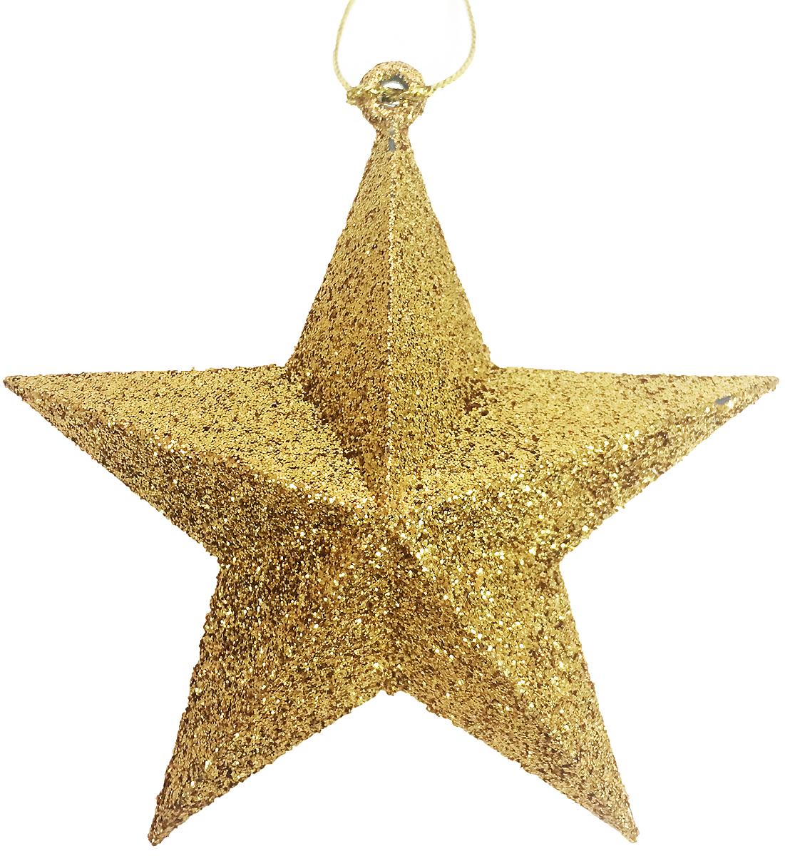 Украшение новогоднее подвесное Magic Time Звезда в золотом глиттере, 9 х 9 х 3 см38732/75107Новогоднее подвесное украшение Magic Time Звезда в золотом глиттере выполнено из пластика в виде звезды и украшено блестками. С помощью специальной петельки украшение можно повесить в любом понравившемся вам месте. Но, конечно, удачнее всего оно будет смотреться на праздничной елке.Елочная игрушка - символ Нового года. Она несет в себе волшебство и красоту праздника. Создайте в своем доме атмосферу веселья и радости, украшая новогоднюю елку нарядными игрушками, которые будут из года в год накапливать теплоту воспоминаний.
