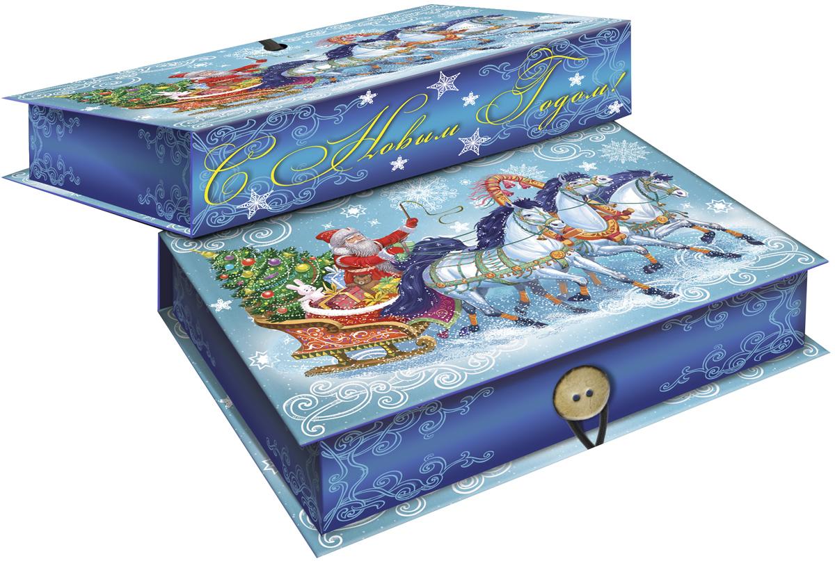 Коробка подарочная Magic Time Дед Мороз на тройке, 18 х 12 х 5 см. 4177241772Подарочная коробка Magic Time Дед Мороз на тройке, выполненная из мелованного, ламинированного картона, закрывается на пуговицу. Крышка оформлена декоративным рисунком.Подарочная коробка - это наилучшее решение, если вы хотите порадовать ваших близких и создать праздничное настроение, ведь подарок, преподнесенный в оригинальной упаковке, всегда будет самым эффектным и запоминающимся. Окружите близких людей вниманием и заботой, вручив презент в нарядном, праздничном оформлении.Плотность картона: 1100 г/м2.