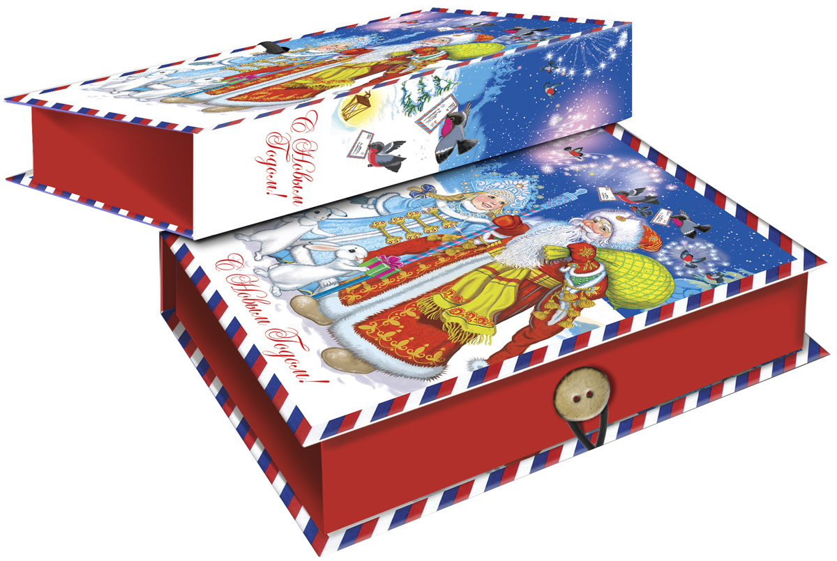 Коробка подарочная Magic Time Дед Мороз, Снегурочка и зайцы, 18 х 12 х 5 см. 4178441784Подарочная коробка Magic Time Дед Мороз, Снегурочка и зайцы, выполненная из мелованного, ламинированного картона, закрывается на пуговицу. Крышка оформлена декоративным рисунком.Подарочная коробка - это наилучшее решение, если вы хотите порадовать ваших близких и создать праздничное настроение, ведь подарок, преподнесенный в оригинальной упаковке, всегда будет самым эффектным и запоминающимся. Окружите близких людей вниманием и заботой, вручив презент в нарядном, праздничном оформлении.Плотность картона: 1100 г/м2.