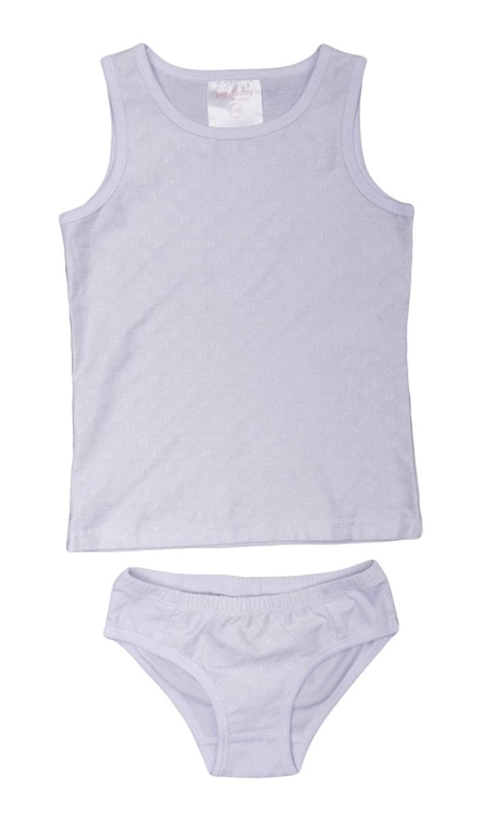 Комплект белья для девочки PlayToday: майка, трусы, цвет: белый. 366007. Размер 128 майки