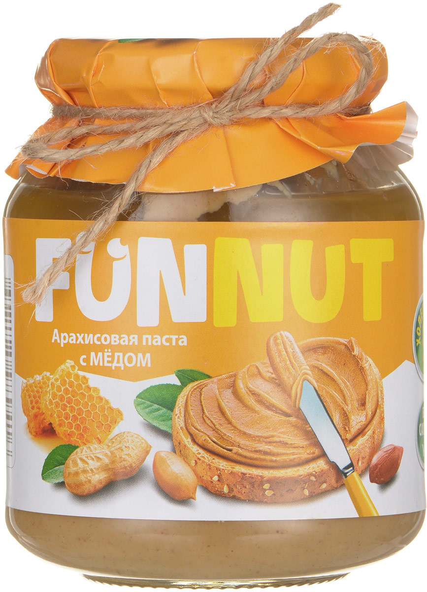 Funnut арахисовая паста с медом, 340 г4607125989416Арахисовая паста Funnut с медом подходит тем, кто следит за своим здоровьем и не употребляет сахар. Паста производится по уникальной рецептуре. Секрет ее вкуса заключается в натуральности всех ингредиентов, отсутствием в составе холестерина, транс-жиров и вредных насыщенных жиров. Вся продукция прошла лабораторные и бактериологические исследования.