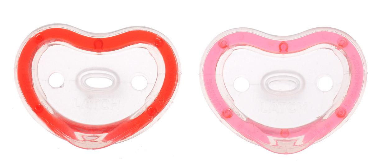 Munchkin Пустышка силиконовая ортодонтическая Latch от 3 до 6 месяцев цвет красный розовый 2 шт