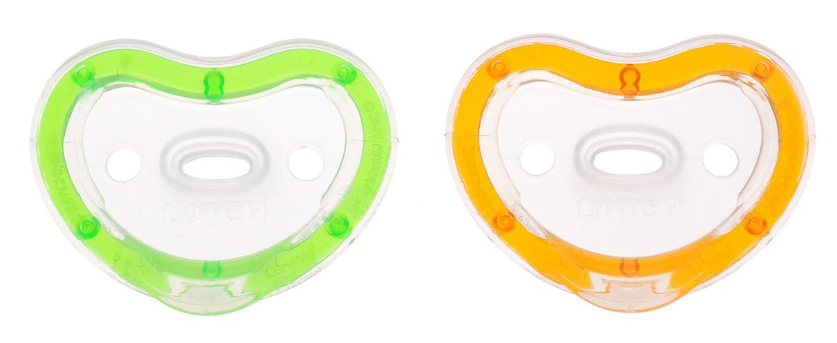 Munchkin Пустышка силиконовая ортодонтическая Latch от 3 до 6 месяцев цвет зеленый оранжевый 2 шт
