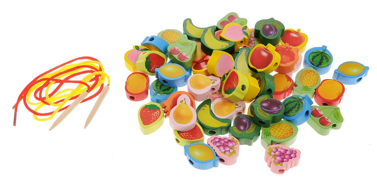 Развивающие деревянные игрушки Шнуровка Бусы Фрукты РДИ-043-2а развивающие игрушки росигрушка набор клепа пирамида фигуры 16 деталей