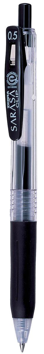 Zebra Ручка гелевая Sarasa Clip цвет черный306 306010Достоинство ручки Zebra Sarasa Clip - мягкость и плавность письма, аккуратные тонкие линии. Несомненный плюс этой модели - клип-прищепка, который позволяет прикреплять ручку к поверхностям практически любой толщины. Ручкой удобно писать: приталенный корпус с рифлением дает дополнительный контроль при письме. Каплевидная передняя часть с каучуковой подушечкой для пальцев предотвращает усталость руки. Диаметр шарика у этой модели всего 0,5 мм, что гарантирует очень тонкую линию письма.