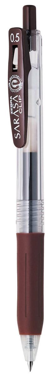 Zebra Ручка гелевая Sarasa Clip цвет коричневый306 306080Достоинство ручки Zebra Sarasa Clip - мягкость и плавность письма, аккуратные тонкие линии. Несомненный плюс этой модели - клип-прищепка, который позволяет прикреплять ручку к поверхностям практически любой толщины.Ручкой удобно писать: приталенный корпус с рифлением дает дополнительный контроль при письме. Каплевидная передняя часть с каучуковой подушечкой для пальцев предотвращает усталость руки.Диаметр шарика у этой модели всего 0,5 мм, что гарантирует очень тонкую линию письма.