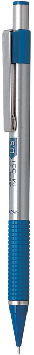 Zebra Карандаш механический M-301 цвет корпуса серебристый синий317 203020Механический карандаш Zebra M-301 идеален для письма и черчения.Корпус карандаша круглой формы выполнен из нержавеющей стали. Пластиковая область захвата с фигурным рифлением обеспечивает комфорт при письме. Дизайн соответствует авторучке F-301.В съемном защитном колпачке на конце корпуса карандаша находится ластик. Мягкое комфортное письмо и тонкие линии при написании принесут вам максимум удовольствия. Порадуйте друзей и знакомых, оказав им столь стильный знак внимания.