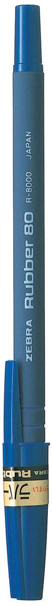Zebra Ручка шариковая Rubber 80 цвет корпуса синий305 207020Шариковая ручка Zebra Rubber 80 имеет долговечный стальной пишущий наконечник. Корпус из микропористого каучука обеспечивает особый комфорт, а четыре кольцевые канавки в передней части корпуса предотвращают скольжение пальцев и дают дополнительный контроль при письме.