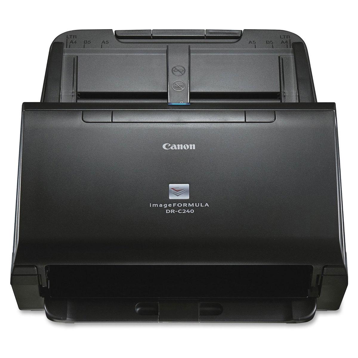 Canon DR-C240 (0651C003) сканер0651C003Canon DR-C240 — это сверхкомпактный и мощный настольный сканер, который имеет прочную конструкцию и обеспечивает надежную подачу бумаги для сканирования документов разнообразных форматов и размеров, в том числе паспортов.Исключительное качество конструкции Canon DR-C240 и функции, направленные на увеличение производительности, являются настоящим прорывом в этом ценовом сегменте. Сканер DR-C240, обеспечивающий быстрое сканирование со скоростью до 45 стр/мин / 90 изобр/мин — естественный комплексный выбор для офисов и рабочих групп. Бесшумная работа сканера и его компактный и привлекательный настольный дизайн производят приятное впечатление в административных офисах и точках обслуживания клиентов, например, в банках, отелях, больницах и правительственных учреждениях. Прочная конструкция и надежное устройство подачи документов сканера Canon DR-C240 были разработаны в соответствии с отзывами клиентов. Этот сканер выходит на новый уровень по качеству конструкции в своем классе, легко сканируя до 4000 документов в день. Максимизация производительности благодаря устройству автоматической подачи документов на 60 листов, которое обеспечивает надежную подачу документов разных форматов и типов материалов для печати: от паспортов и пластиковых карт до двусторонних документов формата A4, A3 (использование сложенного листа) и длинных документов до 3 м в длину. Непрерывность рабочего процесса обеспечивается сканером Canon DR-C240 за счет мощного высококачественного механизма подачи, который гарантирует лучшую в этом классе надежность сканирования разнообразных документов, включая ультратонкую бумагу плотностью от 27 г/м2. Функции ультразвукового определения двойной подачи бумаги и сброса двойной подачи (DFR) обеспечивают быстрый перезапуск сканирования, сводя время простоя к минимуму. Canon DR-C240 оснащен широким набором функций высококачественной обработки изображений. К ним относятся автоматическое определение размера страницы и ориентации