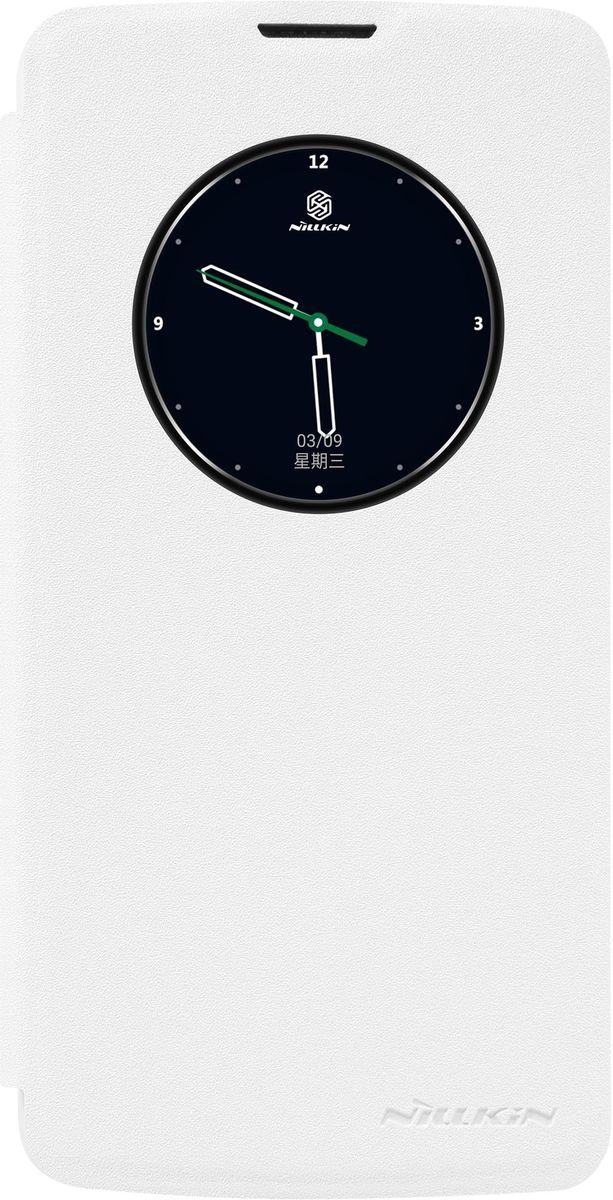 Nillkin Sparkle Leather Case чехол для LG K8, White2000000094731Чехол Nillkin Sparkle для LG K8 надежно защитит ваш смартфон от внешних воздействий, грязи, пыли, брызг. Он также поможет при ударах и падениях, не позволив образоваться на корпусе царапинам и потертостям. Чехол обеспечивает свободный доступ ко всем функциональным кнопкам смартфона и камере. Благодаря окошку для предпросмотра вы можете отвечать на звонки не открывая чехол, а также узнавать время и использовать другие функции вашего смартфона.