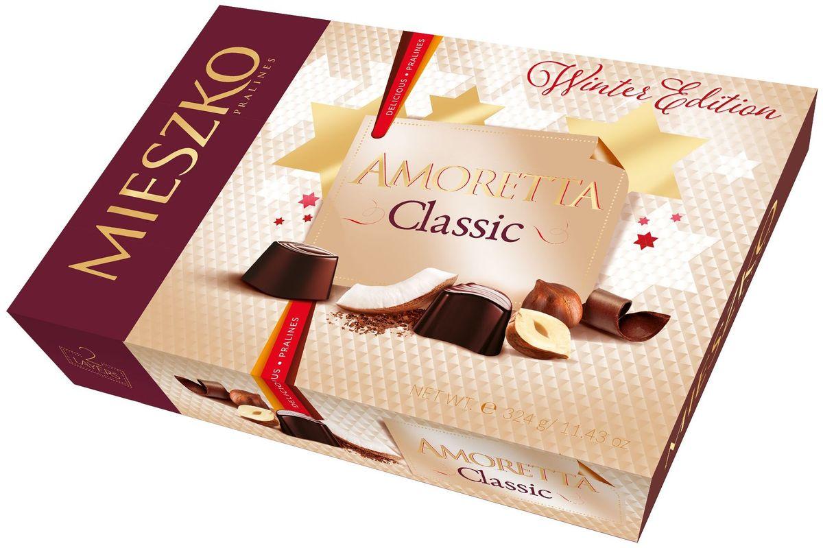 Mieszko Амаретта набор шоколадных конфет, 324 г11726Классические вкусы никогда не выходят из моды и будут доказывать свое качество во многих ситуациях. Особенно, когда речь идет о памятных подарков. Одним из таких подарков является коллекция пралине Mieszko Amoretta Classic. Идеальное сочетания вкуса принесет наслаждение. Эти конфеты понравятся любителям ириса, апельсина, миндаля, кокоса, орехов и сливок. Это исключительный подарок, который, несомненно, принесет радость тем, кто получает его, независимо от случая.