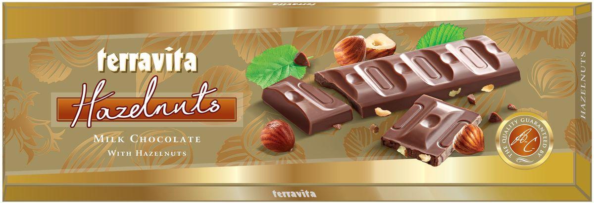 Terravita Шоколад молочный с лесным орехом, 225 г вафли обожайка вкус шоколад 225 г