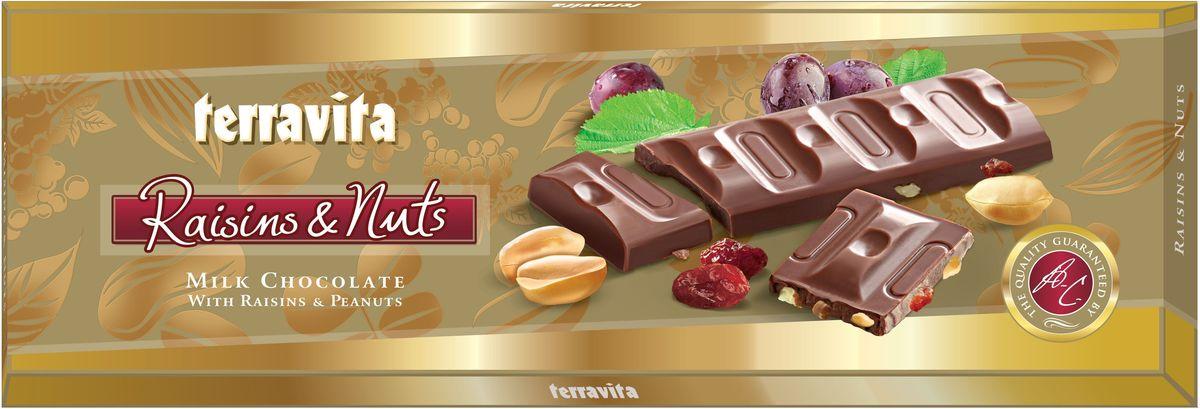 Terravita Шоколад молочный с изюмом и арахисом, 225 г вафли обожайка вкус шоколад 225 г