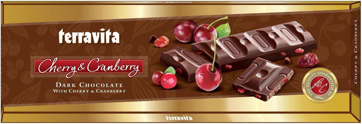 Terravita Шоколад темный с кусочками вишни и клюквы, 225 г pergale шоколад темный с кусочками клюквы 100 г