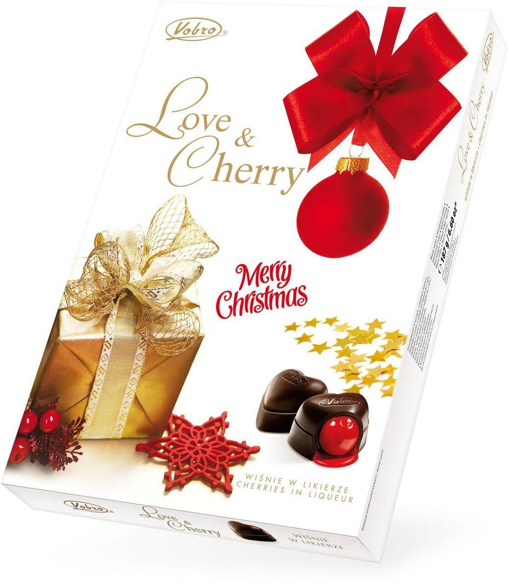 Vobro Love&Cherry Любовь и вишня набор шоколадных конфет вишня в ликере, 187 г виваль наборконфет 12шоколадныхпредсказаний 220 г