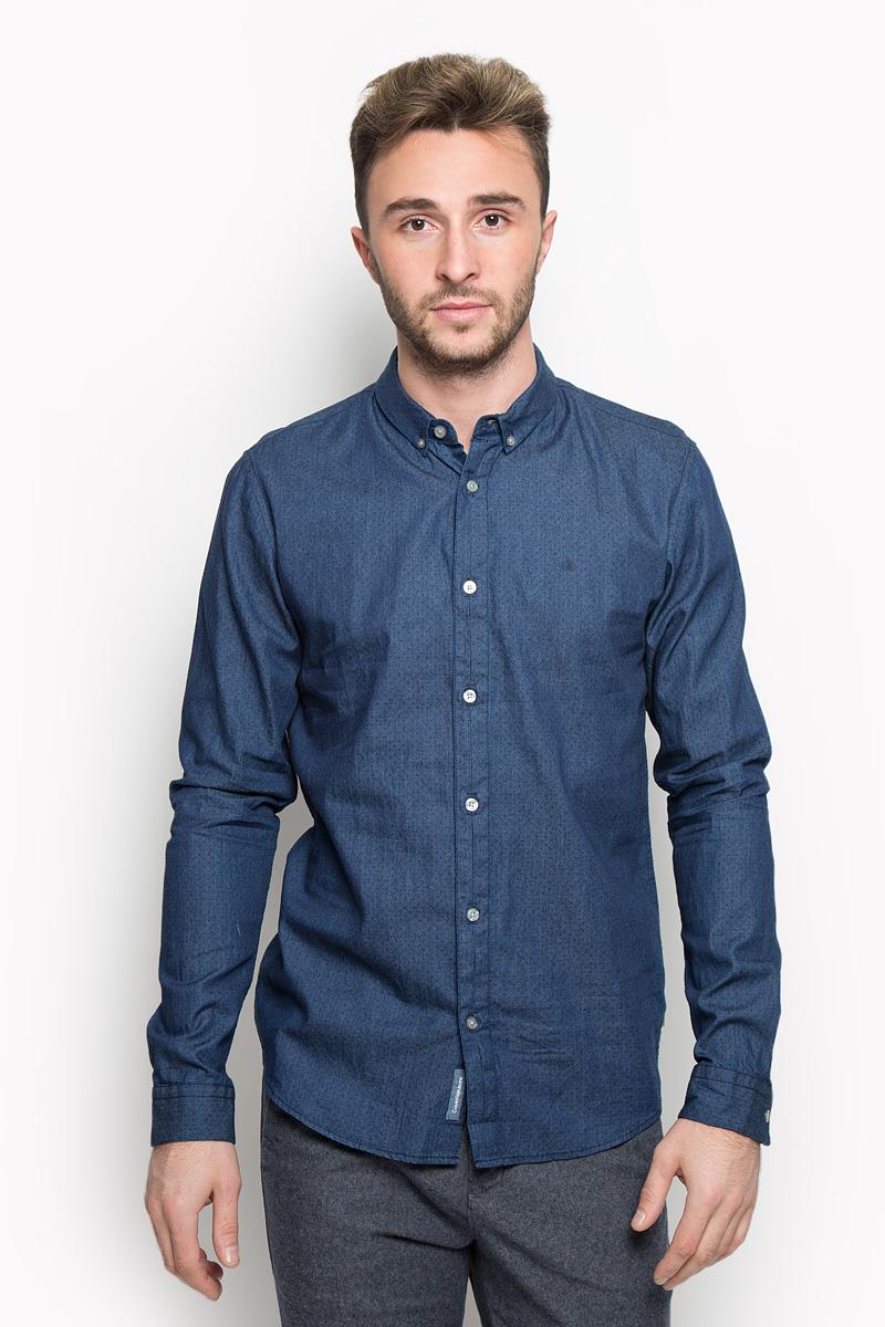 Рубашка мужская Calvin Klein Jeans, цвет: синий. J30J301011. Размер L (48/50) рубашка мужская calvin klein jeans цвет темно синий j30j301011 размер s 44 46