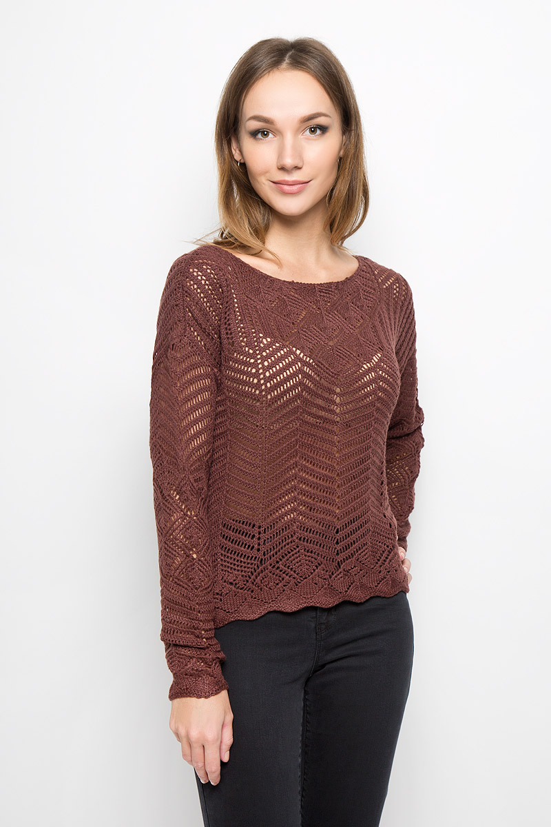 Джемпер женский Vero Moda, цвет: коричневый. 10157941. Размер M (44) джемпер женский vero moda цвет молочный 10189425 pristine размер m 44