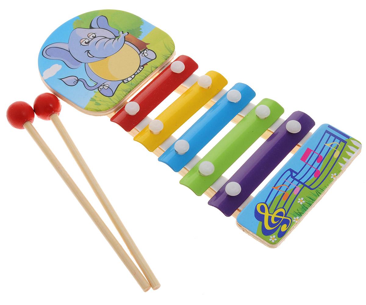 ABtoys Ксилофон Слон abtoys игрушечный музыкальный руль цвет черный желтый красный