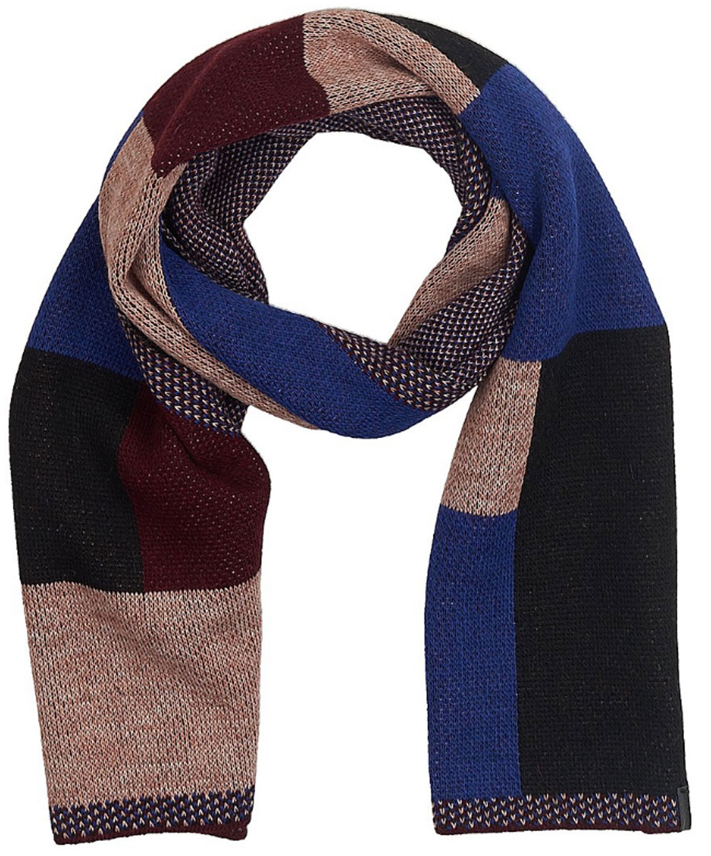 Шарф женский Wrangler, цвет: синий, черный, бордовый. W0S14U2RH. Размер 168 см х 35 смW0S14U2RHСтильный шарф Wrangler выполнен из акрила и шерсти с добавлением альпаки и вискозы. Модель оформлена оригинальным геометрическим принтом и фирменной нашивкой.