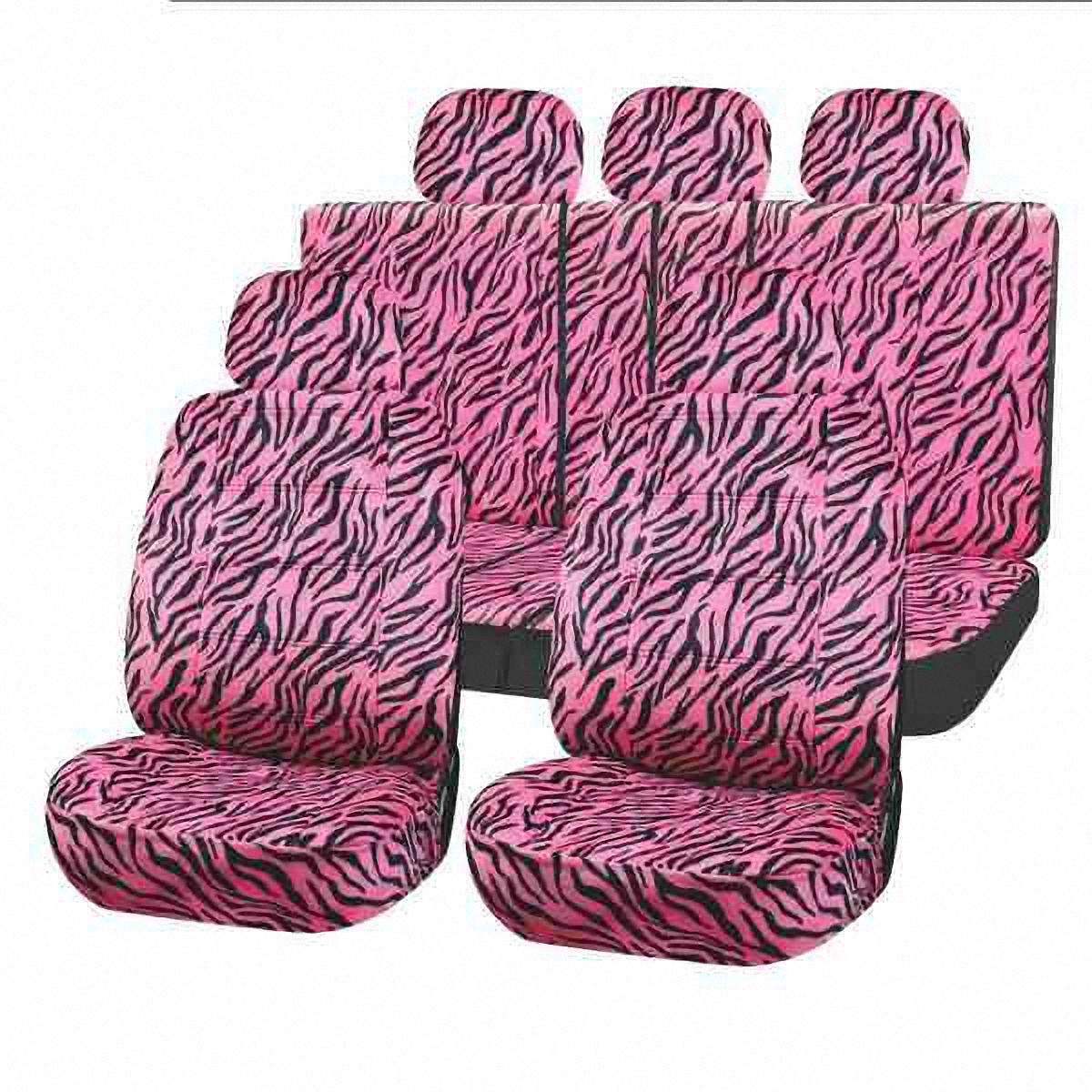 Чехлы автомобильные Skyway SAFARI ЗЕБРА, черно-розовый. S01301083S01301083Универсальные чехлы автомобильные Skyway, изготовленные из прочного материала - велюр, прекрасно защитят ваш салон от износа и повреждений. Более плотный поролон позволяет чехлам полностью прилегать к сидению автомобиля и меньше растягиваться в процессе использования. Ткань чехлов на сиденья не вытягивается, не истирается, великолепно сохраняет форму, устойчива к световому и тепловому воздействию, а ровные, крепкие швы не разойдутся даже при сильном натяжении.В комплекте 11 чехлов.