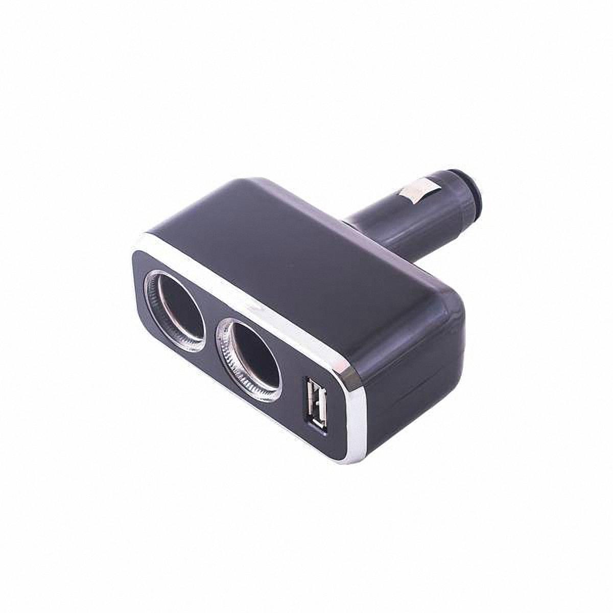 Skyway Разветвитель прикуривателя 2 гнезда + USB. S02301021S02301021Количество гнёзд: 2Количество USB-портов: 1 Устройство вращается на 180°, вверх и вниз.Устройство используется при мощности 7А.Общая мощность 80 Ватт Предохранитель 5 А. Потребляемая мощность 12 - 24 В